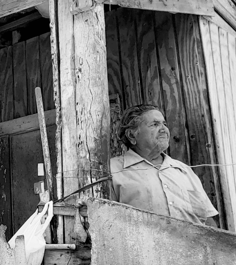 Don Andrés Martínez of Florida awaits help after Hurricane Maria.