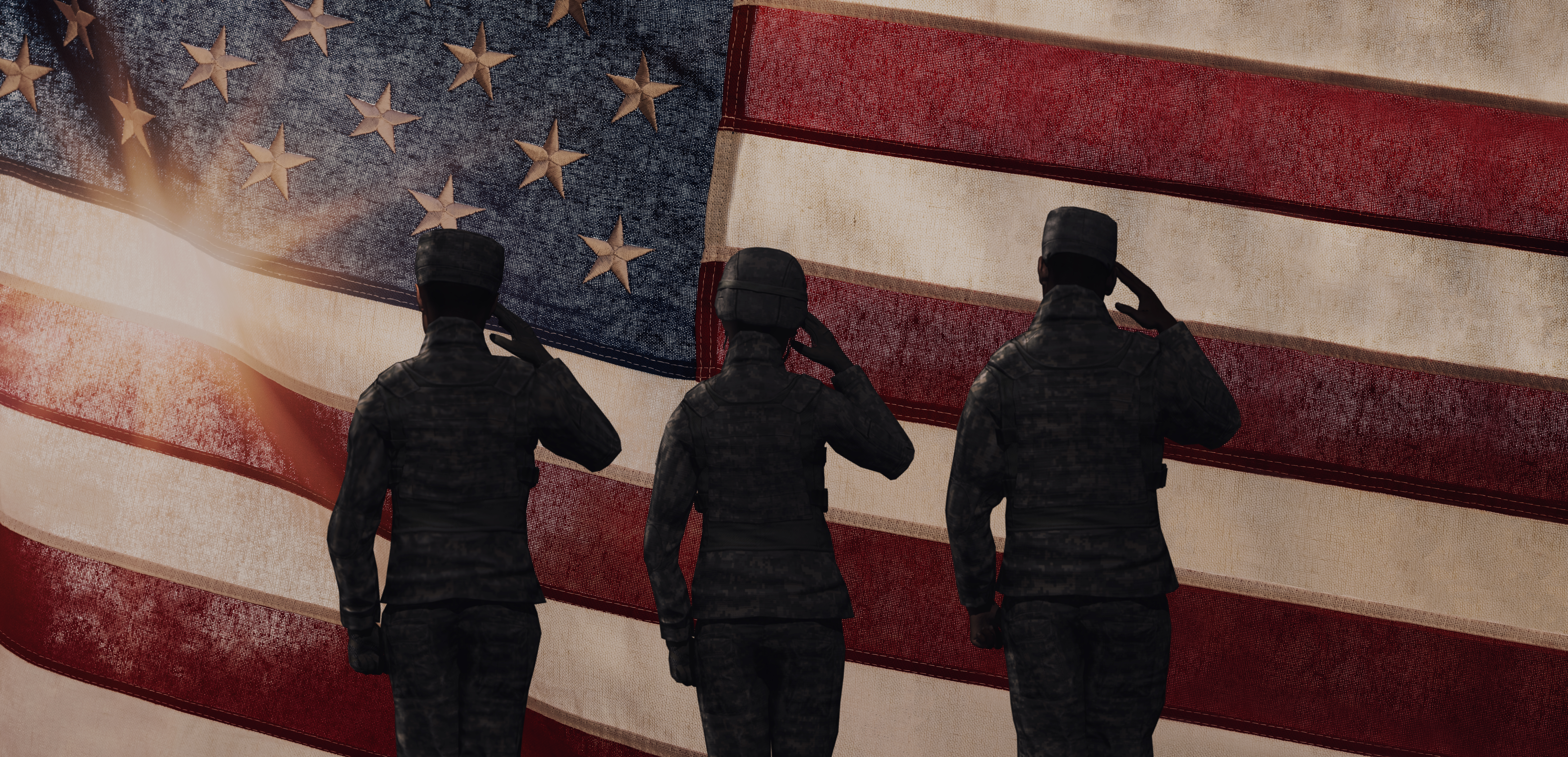 American Soldiers and Veterans in front a American flag. Veteran support services in Texas.