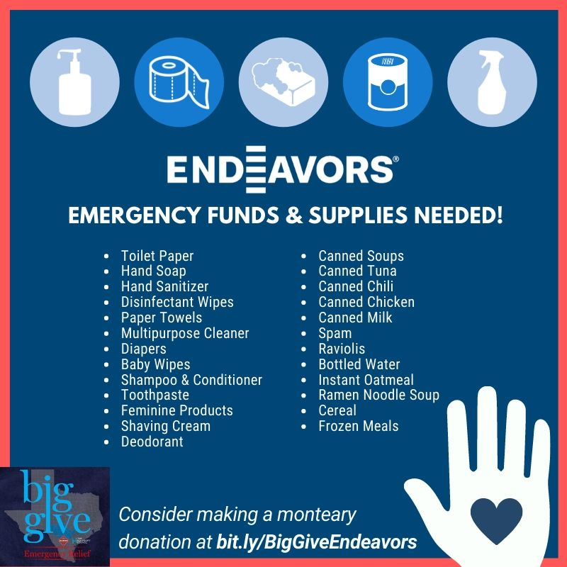 Endeavors COVID-19 Items Needed